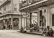 French Quarter - Hangin' Out Sepia Print by Steve Harrington