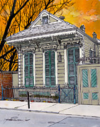 French Door Painting Prints - French Quarter House 381 Print by John Boles