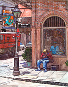 Street Painting Originals - French Quarter Royal St. by John Boles