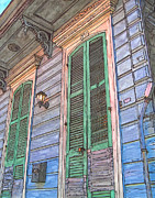 French Door Painting Prints - French Quarter Shutters 368 Print by John Boles