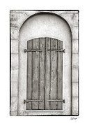 Bryant Metal Prints - French Quarter Shutters in Black and White Metal Print by Brenda Bryant