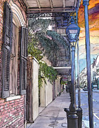 French Door Painting Prints - French Quarter Sidewalk 443 Print by John Boles