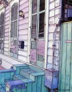 Street Scene Drawings - French Quarter Stoop 213 by John Boles