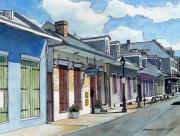 City Scene Drawings Framed Prints - French Quarter Street 211 Framed Print by John Boles