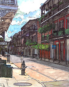 Cajun Paintings - French Quarter Street 372 by John Boles