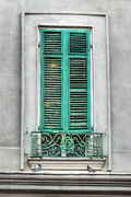 Grillwork Prints - French Quarter Window in Green Print by Brenda Bryant