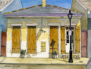 French Door Painting Prints - French Quarter Yellow Brick House 367 Print by John Boles