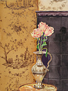Wall Paper Prints - French Roses Print by Irina Sztukowski
