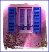 France Mixed Media Metal Prints - French Shutters Metal Print by Gra Howard
