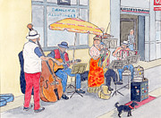 Peter Farrow Metal Prints - French Street Musicians 2007 Metal Print by Peter Farrow