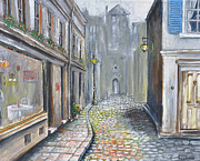 French Door Paintings - French street scene - Original Artwork by Paul Cummings