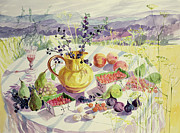 Tablecloth Paintings - French Table by Elizabeth Jane Lloyd