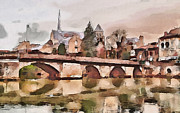 Old Town Digital Art Framed Prints - French town  Framed Print by Yury Malkov
