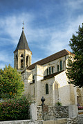 Traditional Prints - French Village Church Print by Olivier Le Queinec