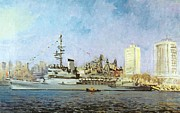 Color Prints Mixed Media Prints - French Warship Jeanna dArk 1992 Print by Jake Hartz