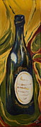 Wine Bottle Paintings - French Wine by Gitta Brewster