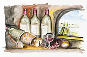Dessert Wine Paintings - French wine by Irina Gromovaja