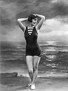 White Bathing Suit Framed Prints - French Woman In A Bathing Suit Framed Print by Underwood Archives