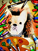Colorful French Bulldog Art Posters - Frenchie Art Poster by Barbara Chichester