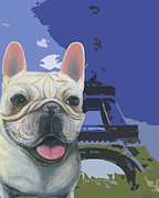 French Bulldog Prints Prints - Frenchie at the Eiffel Print by Ania M Milo