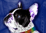 Colorful French Bulldog Art Posters - Frenchie Peace Love Fun Poster by Elizabeth  Just