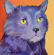 Gray Cat Paintings - Frenchy by Pat Saunders-White            