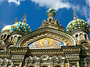 Onion Domes Art - Frescoes Church Onion Domes Saint Petersburg Russia by Robert Ford