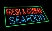 Neon Posters - Fresh and Cooked Seafood Poster by Olivier Le Queinec
