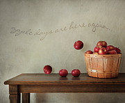 Drop Prints - Fresh apples on wooden table Print by Sandra Cunningham