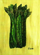 Food And Beverage Painting Prints - Fresh Asparagus Print by Eloise Schneider