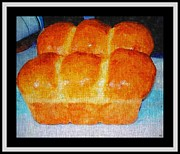 Loaf Of Bread Prints - Fresh Baked Bread Three Bun Loaf Print by Barbara Griffin
