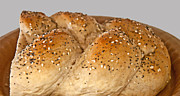 Cut In Half Photos - Fresh Challah Bread by Valerie Garner