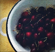 Bowl Framed Prints - Fresh Cherries Framed Print by Linda Woods