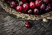 Wooden Bowl Prints - Fresh cherry Print by Mythja  Photography