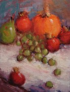Pumpkins Paintings - Fresh fall fruit by R W Goetting