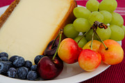 Blue Grapes Photos - Fresh Fruit And Cheesecake by Don Bendickson