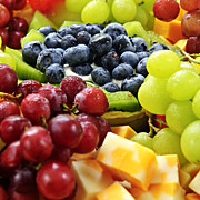 Grapes Photo Prints - Fresh Fruits and Cheese Print by Elena Elisseeva