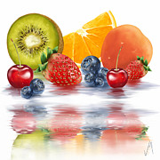 Kiwi Digital Art Prints - Fresh fruits Print by Veronica Minozzi