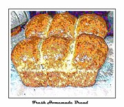 Loaf Of Bread Digital Art Posters - Fresh Homemade Bread 2 Poster by Barbara Griffin