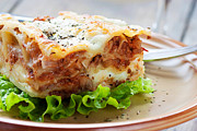 Mythja Posters - Fresh homemade lasagna Poster by Mythja  Photography
