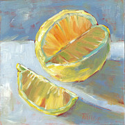 Sour Metal Prints - Fresh Lemons Metal Print by Pam Talley