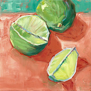 Lime Metal Prints - Fresh Limes Metal Print by Pam Talley