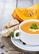 Autumn Soup Posters - Fresh made Pumpkin Creme Soup Poster by HandmadePictures
