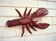 Lobster Sign Posters - Fresh Maine Lobster Sign Boothbay Harbor Maine Poster by Patricia Sundik