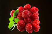 Raspberry Photo Originals - Fresh organic ripe raspberries on black background by Daniel Hodac
