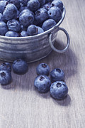 Wooden Bowl Framed Prints - Fresh picked blueberries with vintage feel Framed Print by Edward Fielding