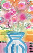 Fresh Picked Flowers In A Blue Vase- Contemporary Watercolor Painting Print by Linda Woods