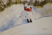 Ski Racing Paintings - Fresh Powder by Sandra Strohschein