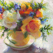 Floral Arrangement Paintings - Fresh - Roses in teacup by Talya Johnson