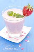 Strawberry Smoothie Metal Prints - Fresh Strawberry Shake  Metal Print by Corinna Gissemann